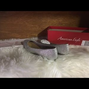 American Eagle size 9 1/2 silver glitter flats NWT